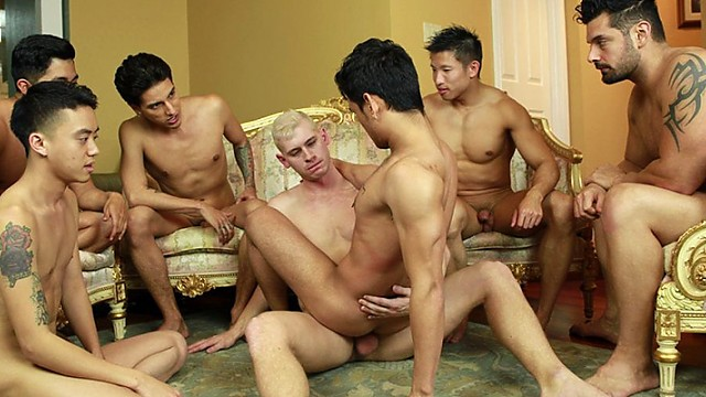 Cute gay guys threeway fucking