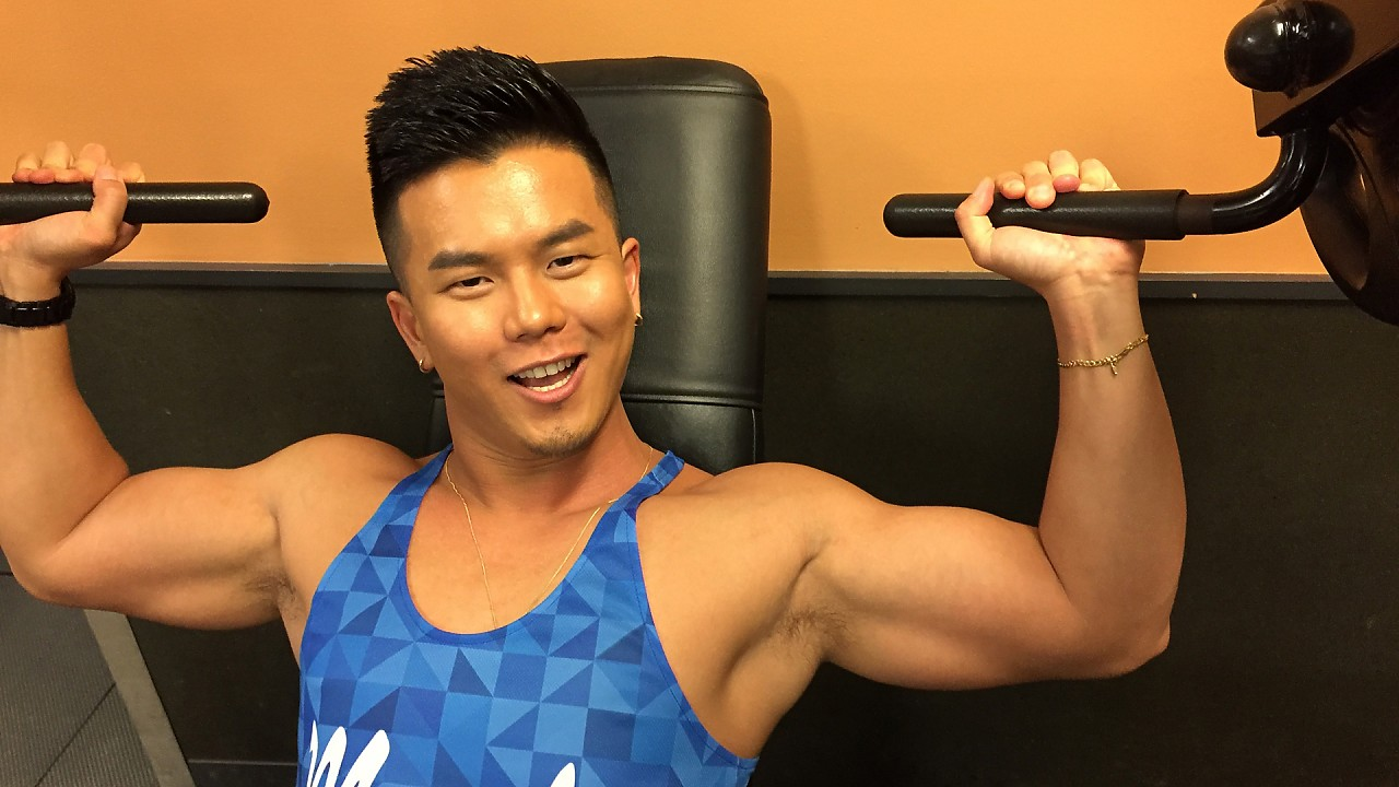 Chinese personal trainer jack off
