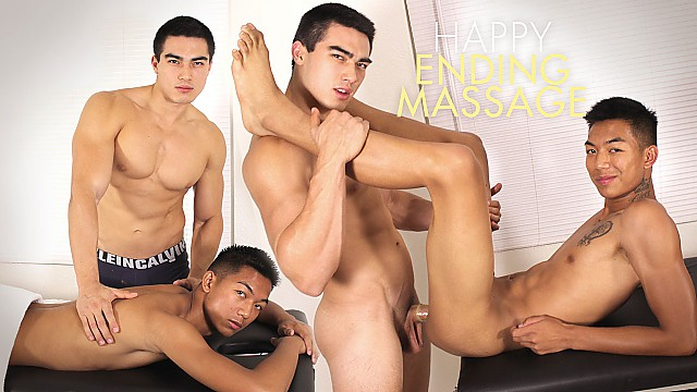 Gay massage with cock jerking cumming